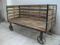 INDUSTRIAL & VINTAGE IRON WOODEN SOFA CUM DAY BED ON WHEEL