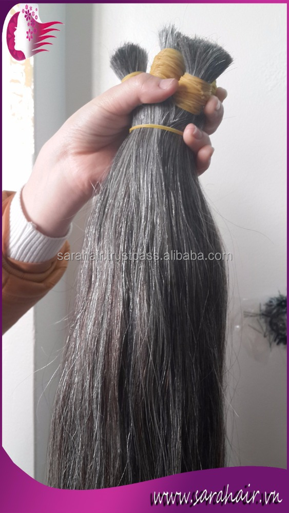 Wholesale price 6A grade top quality Brazilian virgin hair double drawn GREY hair extensions