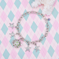 New Fashion Charm Bracelets Link Cable Chain Silver Tone Wish Box Starfish Pendants Hollow Carved With Green Chime Ball