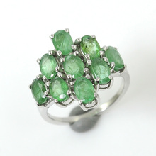 925 Sterling Silver Oval Natural Genuine Green Emerald Gemstone Ladies Engagement Wedding Bridal Cluster Ring Jewely Prong Set