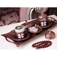 23632 Espresso Turkish Copper Coffee Cup Set of 2 Copper Hand Made Ottoman Tray