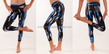 Blue And Black Camouflage Crop Tight Legging For Gym Wears, Running Wears, Yoga Wears, Active Wears, Ci-51