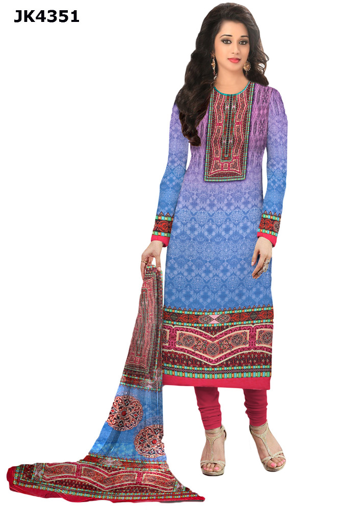Ethnic Wear Unstitched Salwar Kameez / High Quality Printed Islamic Wear / Daily Wear Suits / Gift For Girls 2017