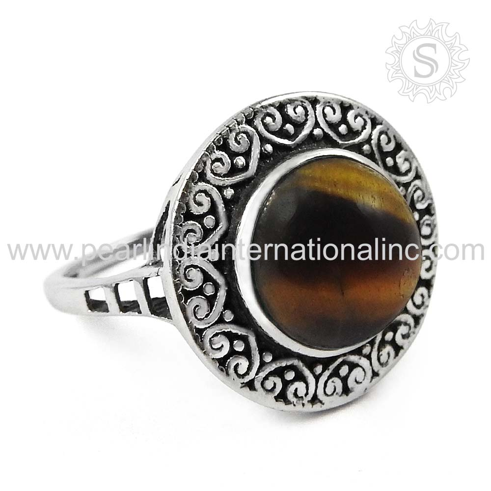 Engagement accessories Tiger Eye Silver 925 Ring Sterling Silver Jewelry Supplier