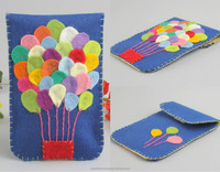 Phone felt case handmade blue with air baloons