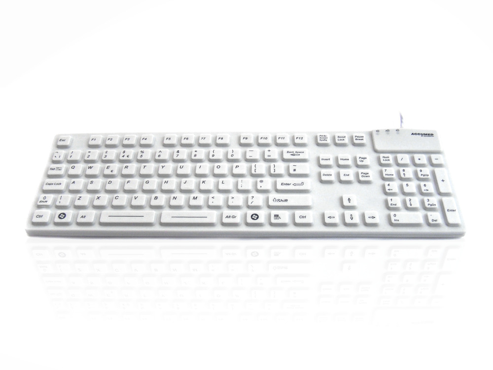 Accuratus AccuMed 105 - USB & PS/2 105 Key Sealed IP67 Antibacterial Clinical / Medical Keyboard