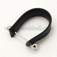 Rubber Cord Ring Components, with Brass Findings, Black, 10x19~28mm