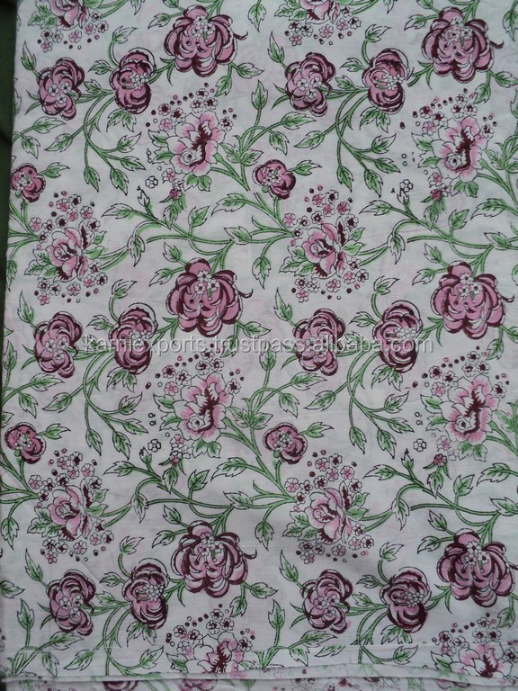 Hand- block world famous indian floral design fabric / Viscose 100% garments wear skirts & dresses fabric