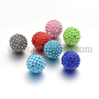 Round Rhinestone Clay Pave Bell Beads, with Brass Findings, No Hole, Mixed Color, 17mm RB-D290-M