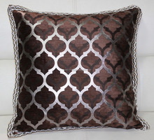 Foil & Print Scroll Premium Furnishing Cotton Fabric Cushion with Jute Trimmed - 45 Cm Sq.