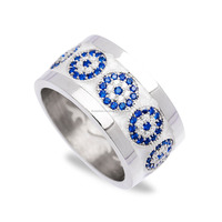 Turkish 925 Sterling Silver Evil Eye Enamel Ring Band Fashion for womens design jewerely ring