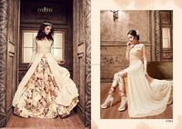 Pure Silk Designer Embroidered and printed bridal anarkali salwar kameez