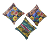 3 Pc Bengali Floral Kantha Cushion Cover Set Beautiful Cotton Pillowcase
