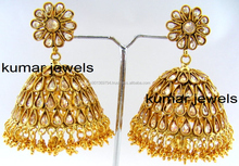 Golden Big Polki Jhumka