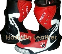 Red Motorbike leather shoes Street gear motorcycle leather shoes