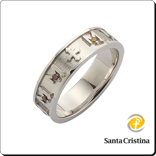 Catholic real gold rosary ring (diamond),wedding ring
