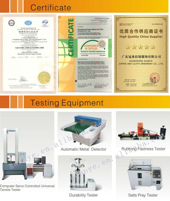 Certificate and testing equipment