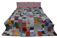 Indian Hippie Reversible Patchwork Bedcover Printed Quilt Coverlet Blanket Throw
