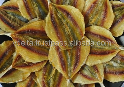 dried yellow stripe trevally fish, fish snack