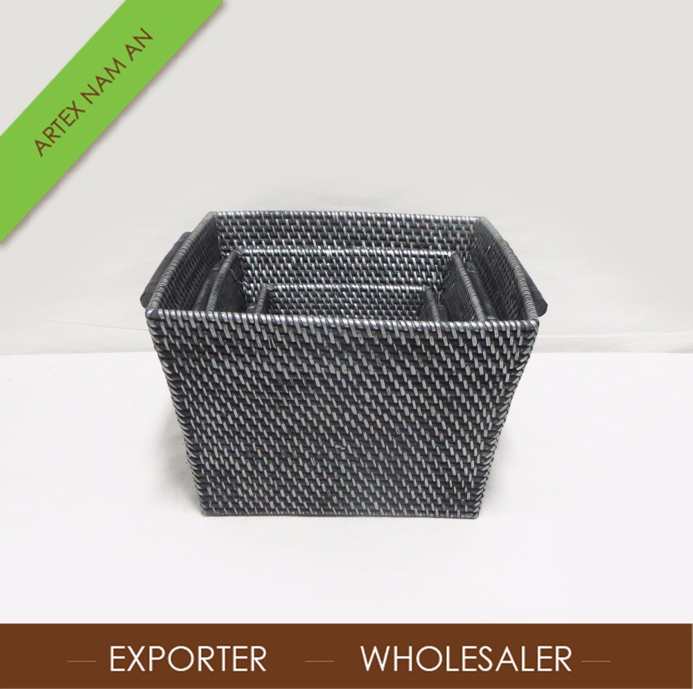 Natural hand woven rattan storage box in Vietnam