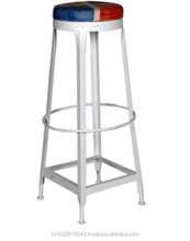 White Colour Bar Stool with Cushion ,Vintage Industrial Bar Stool