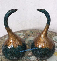 4920120916 Set of 2 lacquer vases in the shape of bird head made from terracotta- special quality lacquerware