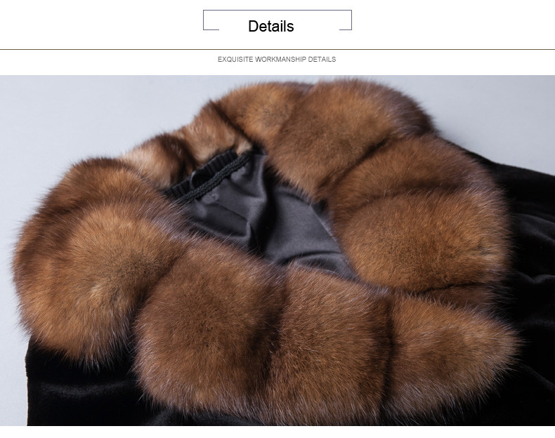 Sable Fur Collar Luxury Long Black Mink Fur Coat