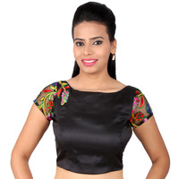Designer black blouse with embroidered sleeves boat neck for women