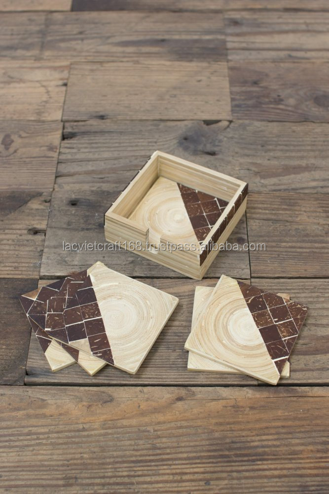 High quality best selling eco friendly natural set of 6 spun bamboo coaster with coconut detail from Vietnam