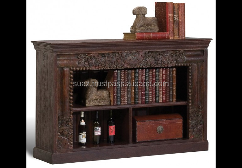 Antique Carved Book Case Living Room Display Office use Shelf, Antique Shelf Wooden Book Shelves, wooden custom design bookshelf