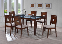 tempered glass dining set / Glass top dining table and wooden chair