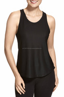 cool and Comfertable fit plain black mesh tank top ,Racer back and Scoop neck for Women