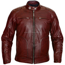 Shiny Brown Motorbike Leather Jacket For Men