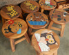 Children wood stool Thailand - Kids wood stools handpainted