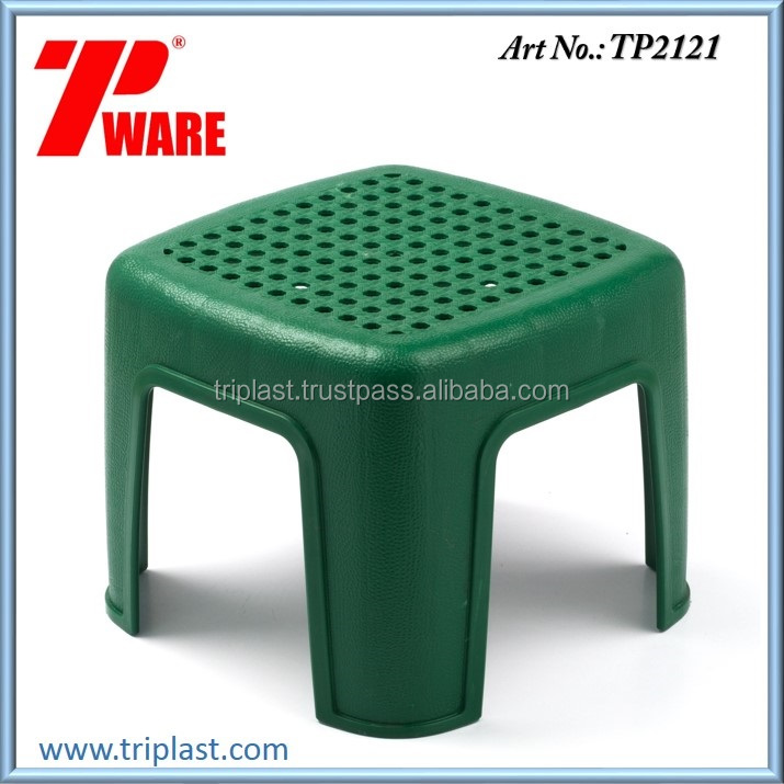 Square Short Stool or Chair PP Material Green Color