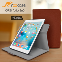 Top Quality roocase ORB 360 Rotating Folio Leather Cover Sleep/Wake Feature for iPad Air 2/Air 1 case Whole Sale (Brown)