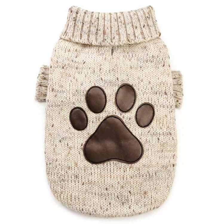 China Manufacturer Eco-friendly pet clothing cotton hand knit dog sweater with leather claws