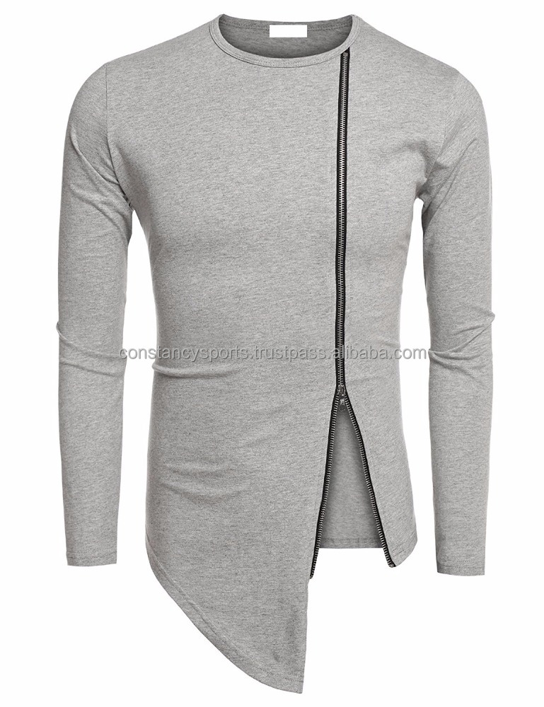 Customized Men's Shirts Casual Zipper Shirt Irregular Long Sleeve T Shirt