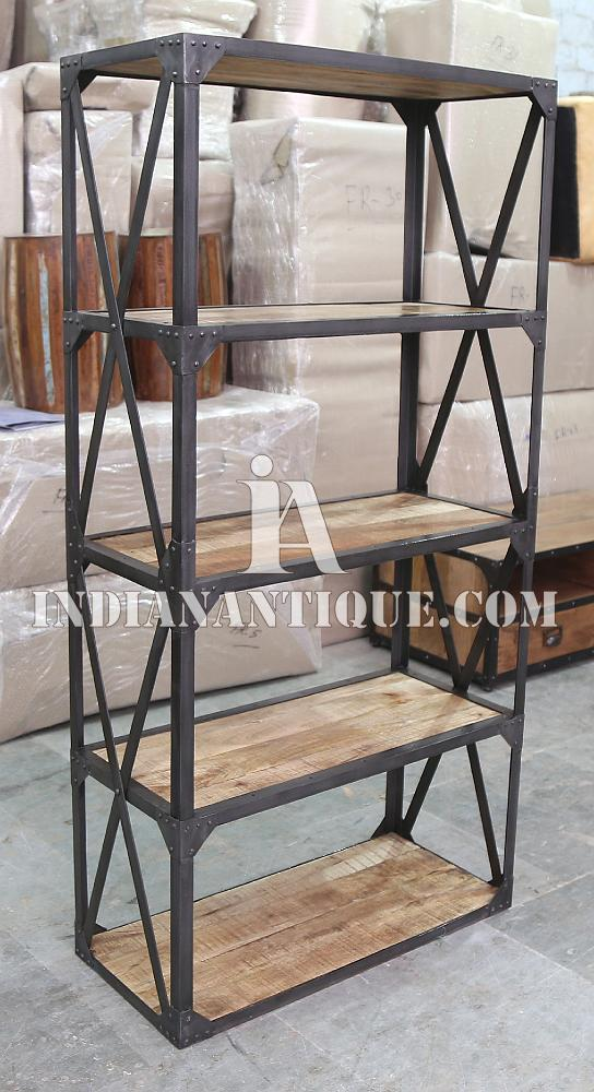 EXCLUSIVE INDUSTRIAL FURNITURE BOOKCASE - DISPLAY RACK FROM INDIAN ANTIQUE, INDIAN INDUSTRIAL FURNITURE IA-ASR-68