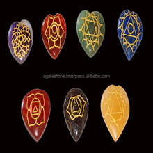 Heart Shaped Seven Chakra Stone Symbol Engraved Set : Wholesale Supplier of Chakra Engraved Stones