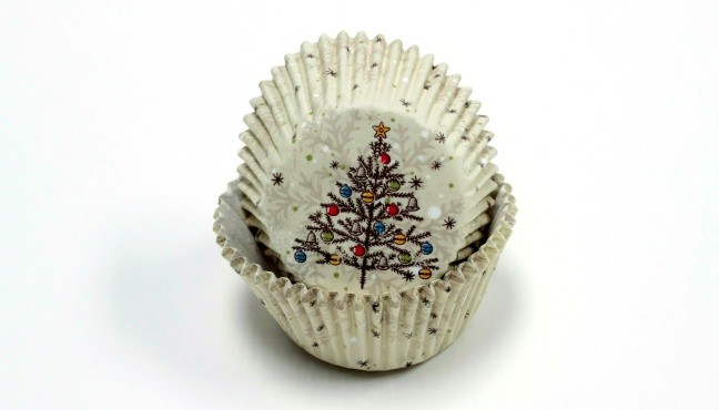 BAKING CUPS-TREE W/DECOR. 50CT