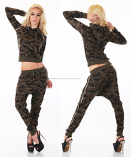 Sexy Women's Camouflage 2 Piece Full Tracksuit With Hoodie Top Jogging.