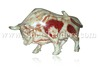 Natural Marble Onyx Designed Marble Bull, Multi Green