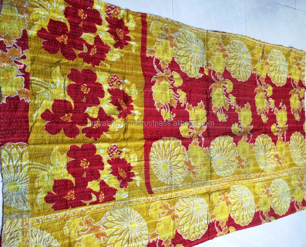 Jaipuri handmade vintage cotton kantha quilts throws recycled old sari patchwork quilt