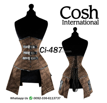 Ci-487 Brown Cotton Steel Boned Corset Supplier
