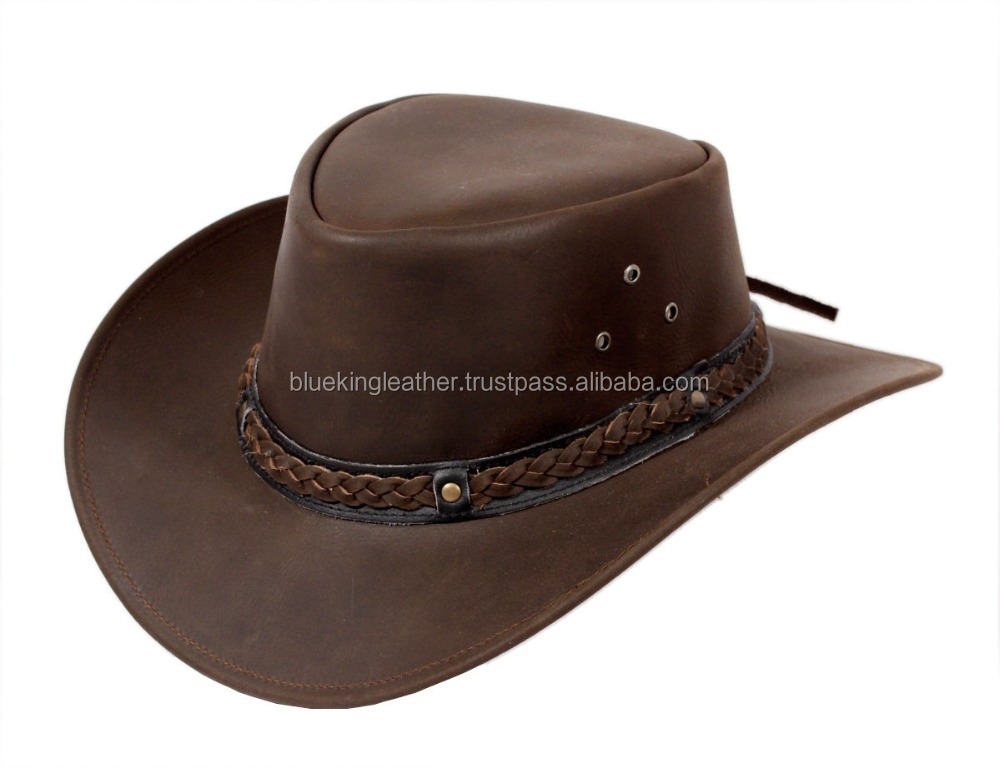 Real leather Australian Aussie cowboy sun protection hat brown black camel