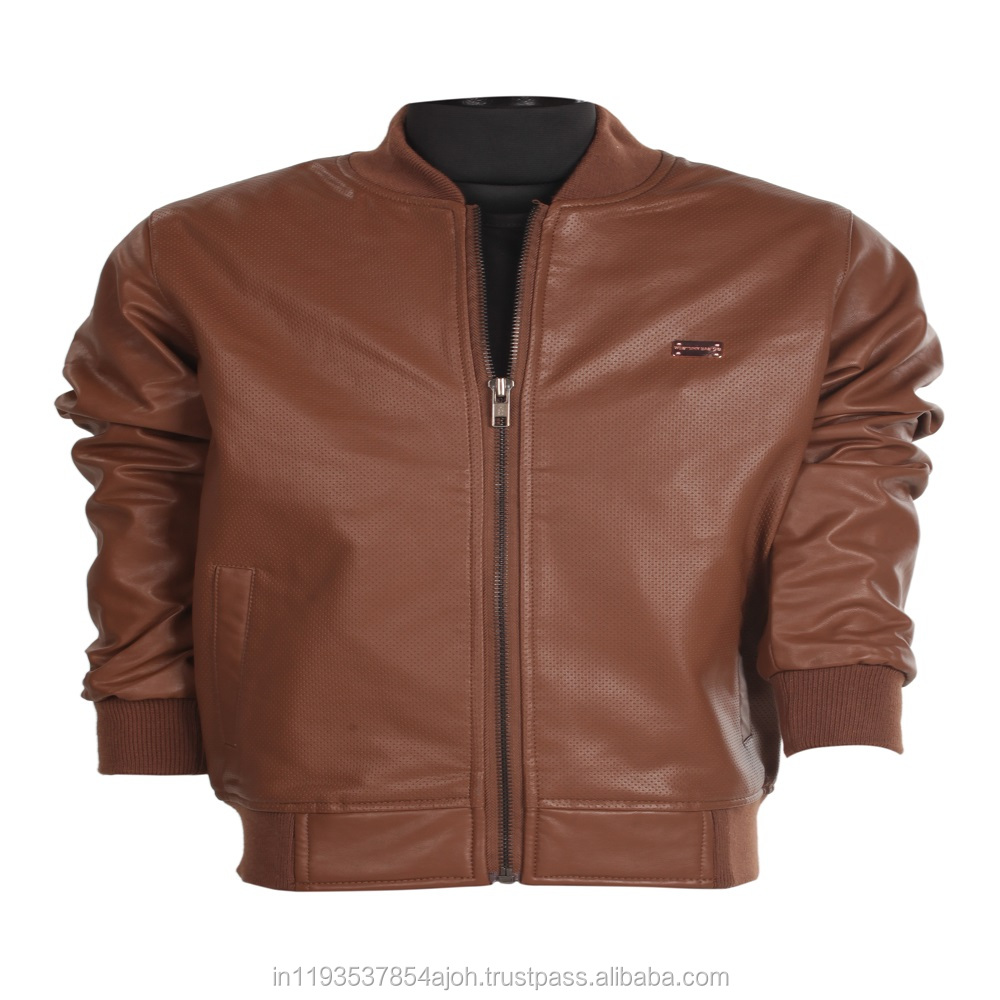 The European and American wind children's clothing leather in brown color