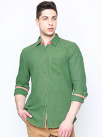 Men Green Slim Fit Khadi Casual Shirt