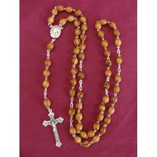 olive wood oval rosary beads with holy soil centerpiece/silver plated olive wood chain rosary beads