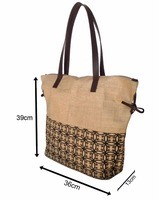 Environment friendly Reusable Bags Women Shopping Large Jute Burlap Bag brightly printed Bucket Jute Bags with zippere closure